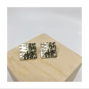 """Gold """"Rough Patch"""" Earrings."""